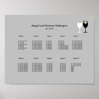 Einfache Weingläser, die Diagramm setzen Poster