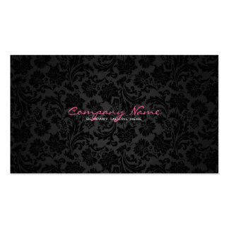 Einfache weiße u. schwarze Vintage Blumendamaste Visitenkarten Vorlagen