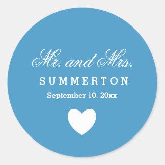 Einfacher Art-Herr und Frau Wedding Names Date Runder Aufkleber