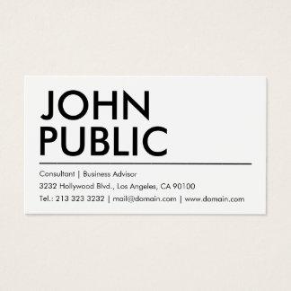 Einfacher einfacher weißer mutiger Name Visitenkarte
