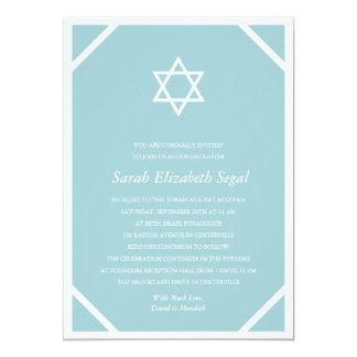 Einfacher eleganter blauer Schläger Mitzvah 12,7 X 17,8 Cm Einladungskarte