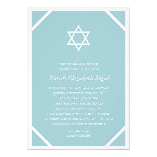 Einfacher eleganter blauer Schläger Mitzvah Ankündigung