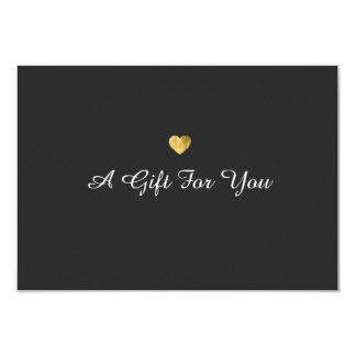 Einfacher eleganter Goldherz-Geschenkgutschein 8,9 X 12,7 Cm Einladungskarte