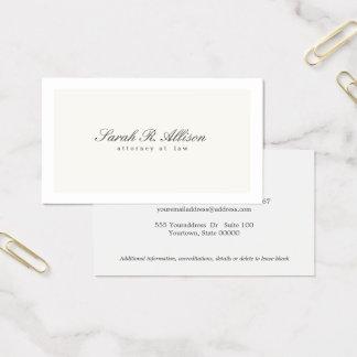 Einfacher eleganter Rechtsanwalts-berufliche Creme Visitenkarte