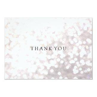 Einfacher eleganter weißer Bokeh danken Ihnen zu 8,9 X 12,7 Cm Einladungskarte