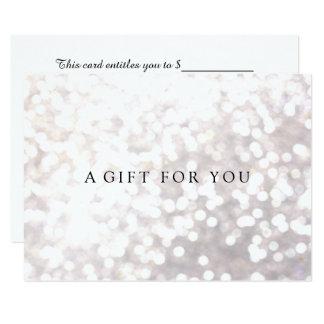Einfacher eleganter weißer Bokeh Geschenkgutschein Karte