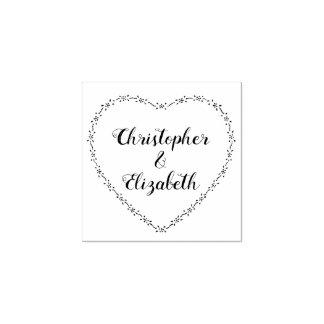 Einfacher Hochzeits-Herzwreath-Vintages Blumen Gummistempel