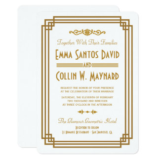 Einfacher Kunst-Deko-weiße Hochzeit lädt ein 12,7 X 17,8 Cm Einladungskarte