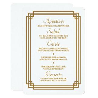 Einfacher Kunst-Deko-weißes Hochzeits-Menü 12,7 X 17,8 Cm Einladungskarte