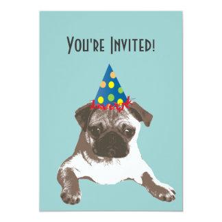 Einfacher Mops in der Hut-Geburtstags-Party 12,7 X 17,8 Cm Einladungskarte