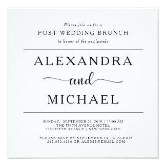 Einfacher Posten-Hochzeits-Brunch der Eleganz-| Quadratische 13,3 Cm Einladungskarte