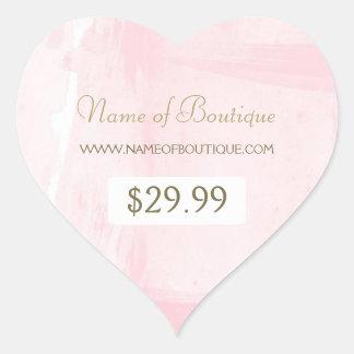Einfacher rosa Goldwatercolor-Butike-Preis-Umbau Herz Sticker