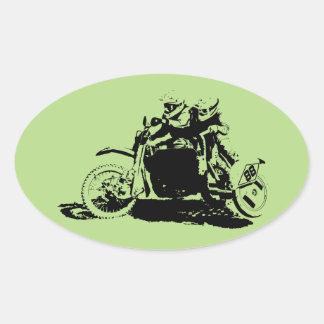 Einfacher Sidecarcross Entwurf Ovaler Aufkleber