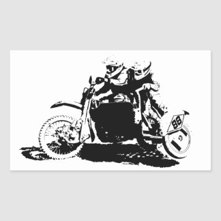 Einfacher Sidecarcross Entwurf Rechteckiger Aufkleber