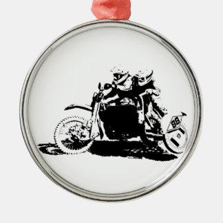 Einfacher Sidecarcross Entwurf Rundes Silberfarbenes Ornament