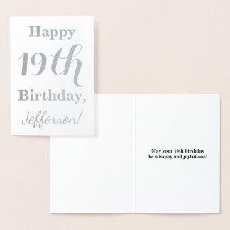 Einfacher silberne Folien-19. Geburtstag + Folienkarte