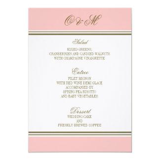 Einfacher Streifen erröten rosa Hochzeits-Menü 12,7 X 17,8 Cm Einladungskarte