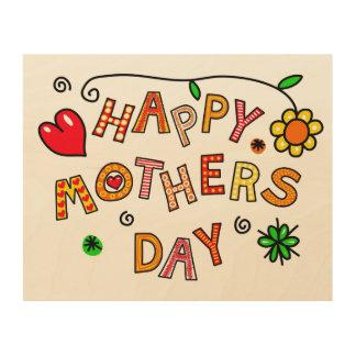 Einfacher und Spaß-glücklicher Mutter-Tag Holzleinwand