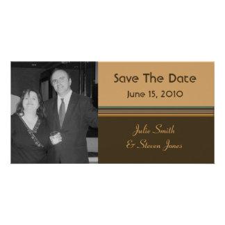 einfaches braunes biege Save the Date Photo Karten Vorlage