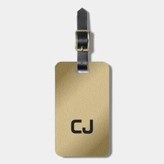 Einfaches cooles Imitat-Goldschwarz-Monogramm Gepäckanhänger