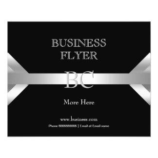 Einfaches einfaches silbernes Schwarz-weißes Bedruckte Flyer