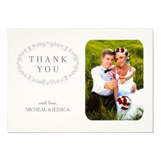 EINFACHES elegantes Hochzeits-Foto danken Ihnen zu 12,7 X 17,8 Cm Einladungskarte