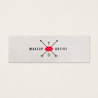 Einfaches elegantes Maskenbildner-Rot-küssende Mini Visitenkarte