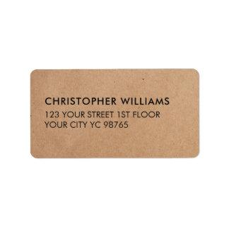 Einfaches elegantes Packpapier-Geschäft Adressaufkleber