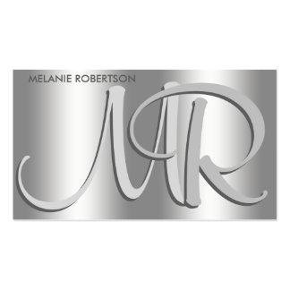 Einfaches elegantes Silber auf silbernem Visitenkarten