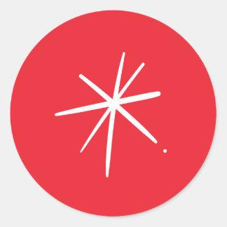 Einfaches festliches weißes Stern-Weihnachten Runder Aufkleber