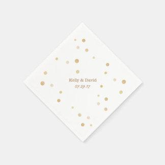 Einfaches Gold punktiert Name-Wedding Papierserviette