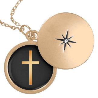 Einfaches Goldchristliches Kreuz auf Schwarzem Medaillon
