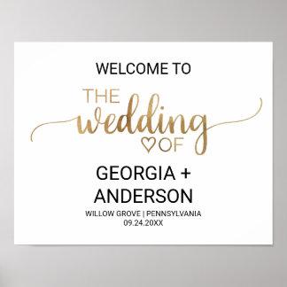 Einfaches GoldKalligraphie-Hochzeits-Willkommen Poster