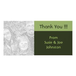 einfaches grünes Braun dankt Ihnen Photokartenvorlagen