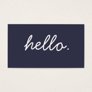 Einfaches hallo-Marine-Blau-berufliches Geschäft Visitenkarte