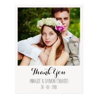 Einfaches Hochzeits-Foto danken Ihnen Postkarte