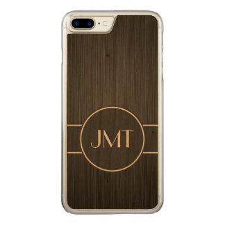 Einfaches hübsches Monogramm-Schwarz-Imitat-Metall Carved iPhone 8 Plus/7 Plus Hülle