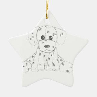 einfaches Hundegekritzel scherzt Schwarz-weißen Keramik Stern-Ornament