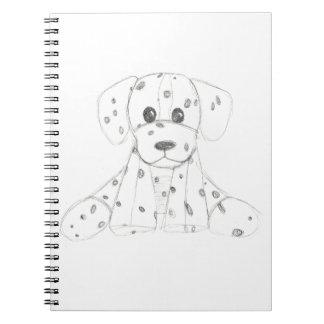 einfaches Hundegekritzel scherzt Schwarz-weißen Spiral Notizblock