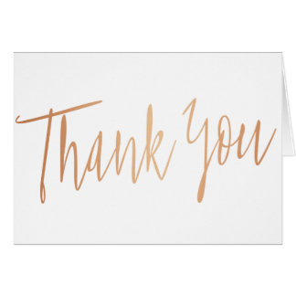 """Einfaches Kalligraphie-Rosen-Gold """"danken Ihnen """" Karte"""