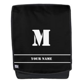 Einfaches klassisches schwarzes Monogramm Rucksack