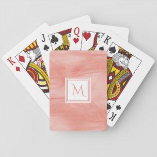 Einfaches korallenrotes rosa subtiles modernes spielkarten