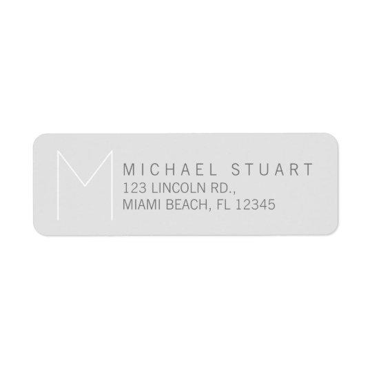 Einfaches modernes elegantes graues Monogramm Rücksendeetikett