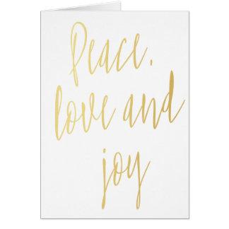 """Einfaches modernes Gold""""Frieden, Liebe und Freude"""" Karte"""