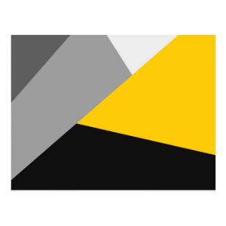 Einfaches modernes graues gelbes und schwarzes Geo Postkarte