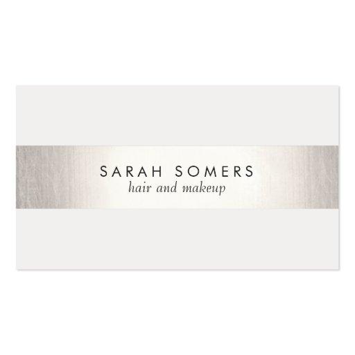 Einfaches modernes IMITAT Silber Striped Visitenkartenvorlagen