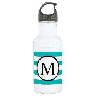 Einfaches Monogramm mit Aqua-horizontalen Streifen Edelstahlflasche