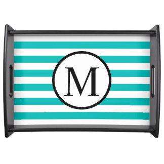 Einfaches Monogramm mit Aqua-horizontalen Streifen Serviertablett