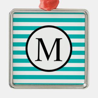 Einfaches Monogramm mit Aqua-horizontalen Streifen Silbernes Ornament