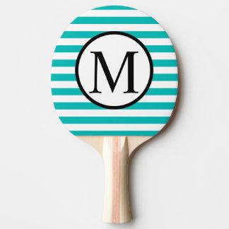 Einfaches Monogramm mit Aqua-horizontalen Streifen Tischtennis Schläger